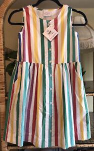 NWT Hanna Andersson Girls Rainbow Stripe Dress size 140