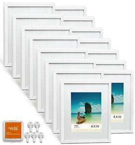 "CAVEPOP 11x14"" Mat 8x10"" Picture Frame 15 Piece Set - White"