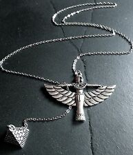 Silver Egyptian Queen & Pyramid Lariat Pendant Necklace--Stainless Steel Chain