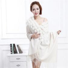 Solid Scarf Women 100% Wool Thickening Wraps Real Rabbit Fur Bride Wedding Shawl