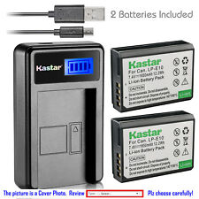 Kastar Battery and LCD Slim USB Charger for Canon LP-E10 EOS Rebel T3 T5 1100D