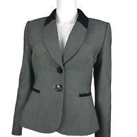 Tahari ASL Petites Gray Blazer Jacket Shawl Collar Black Trim Shepherd Check 6P