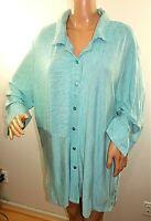 Links Women Plus Size 2x 3x Green White Striped Button Down Shirt Blouse Top