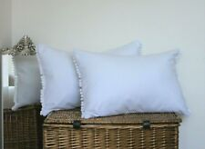 "Oblong Rectangle Cushion Covers White Pom Pom 12"" x 18"" Avignon French Chic *"