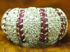 925 Sterling Silver Ring with Ruby and Spinel Decorations/Real Silver/7,0g/RG59