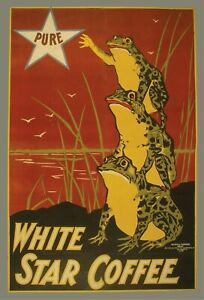 White Star Coffee Vintage Frog Advertising Poster Giclee Print Canvas or Paper