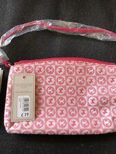 New Radley Pink Jacquard Fabric Shoulder Bag Or Wristlet