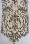 Antique 1920s silver and gold metallic thread lace shawl