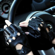 Pu Leather Black Gloves Hollow Half Finger Fingerless Driving Gloves For Women