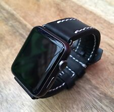 High Quality Black Leather Watch Strap  Band for Apple Watch 42mm Series 1/2