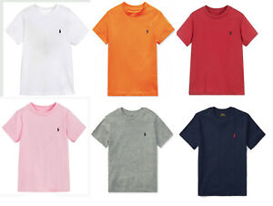 Ralph Lauren Kids Boys Crew Neck Short Sleeve basic logo T shirt Top Age 2-18