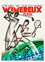 Wimereaux Plage by Leon Dupin A1 High Quality Canvas Print