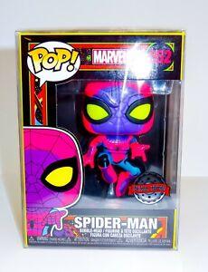 Marvel Blacklight Spider-Man 652 Special Edition Funko Pop Vinyl + Pop Protector