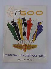1963 Indianapolis 500 Program Parnelli Jones Watson/Offy Chrysler 300 Sam Hanks