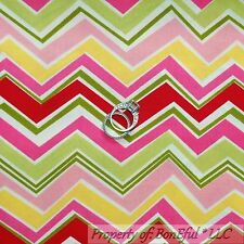 BonEful FABRIC FQ Cotton Quilt Pink White Green Yellow CHEVRON Fun Spring Stripe