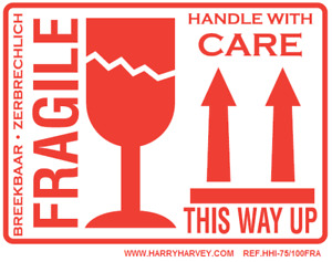 """50 Large Fragile This Way Up Handle With Care Stickers Labels 100m x 75mm 4""""x3"""""""