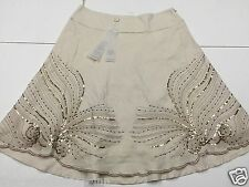 BNWOT B. YOUNG SIZE 12 (EU 40) CREAM / BROWN LADIES SEQUINNED LINED SKIRT 3H