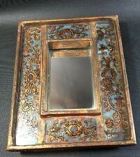 Antique Stand Mirror Lacquer Wood Frame Hand Painted Gilt 3F