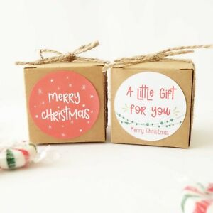 10x Christmas 5cm Cookies Gift Boxes XMAS Box Sweets Treats Lolly Chocolate