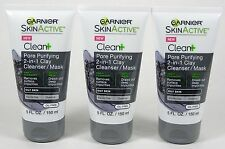 3 Garnier SkinActive Clean+ PORE PURIFYING 2-in-1 CLAY Cleanser/Mask 5oz OILY
