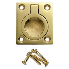 1-1/4 inW x 1-1/2 inH Rectangular Recessed Ring Pull, Polished Brass