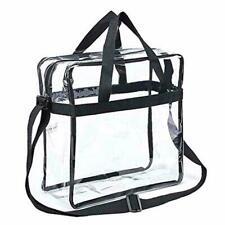 Clear Plastic Tote Bag Women Transparent Handbag Zip Purse NFL Stadium Security