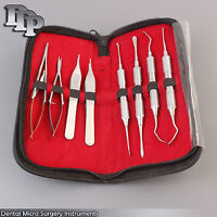 Set Of 8 Dental Micro Surgery Instruments Surgical Dental with Beautiful Pouch