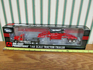 Red Peterbilt 379 Semi With Manac CPS Bottom Dump Trailer By DCP 1/64th Scale >