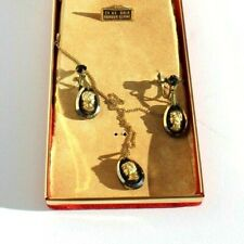 Vtg Fashion Jewels 24 Kt Gold Cameo Necklace & Matching Earring Ladies Fashion