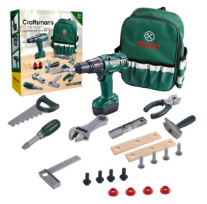 Children's Toolbox Set With Carry Bag, Electric Drill With Sound Plus Hand Tools