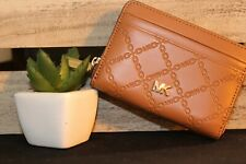 MICHEAL KORS ZIP-AROUND CARD CASE LEATHER - ACORN/GOLD