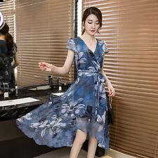 new summer Korean fashion elegant Collect waist chiffon irregular printing dress