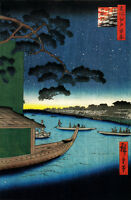 JAPANESE LANDSCAPE ART HIROSHIGE ASAKUSAGAWA SHUBI A1 CANVAS PRINT FRAMED