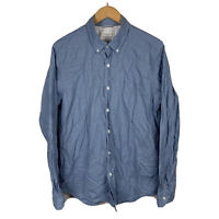 Trenery Country Road Mens Button Up Shirt Size Large Blue Long Sleeve Good Condt