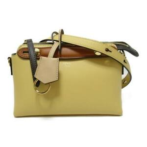 Authentic FENDI By the way mini 2way shoulder bag Calf leather Yellow Brown Used