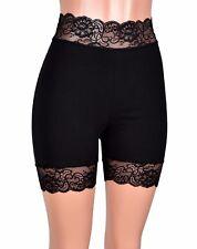 "2.5"" Black Stretch Lace Shorts High Waisted XS S M L XL 2XL 3XL plus size cotton"