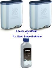 2 x SAECO Philips AquaClean + 1 x 250ml Saeco Entkalker Wartungs Set