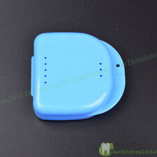Dental Orthodontic Retainer False Teeth Storage Case Container Blue Transparent