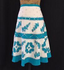 BCBG Max Azria 2 Small Skirt White Turquoise Silver Sequin Applique Full BoHo