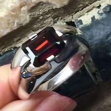 Genuine Emerald Cut 2ct Garnet 925 Solid Sterling Silver Unisex Ring 8.75