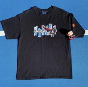 Superman Graffiti Comic Panel Mens Black T-Shirt Size Large DC 2003