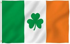 ANLEY Irish Shamrock Flag Ireland St Patrick's Clover Polyester Flags 3x5 Foot