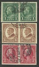 U.S. Stamps Scott 575, 576, & 577 - Imperf. issues of 1923-1925 pairs - set #8