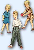 1950s Vintage Simplicity Sewing Pattern 4166 Boys Shirt Shorts & Trousers Size 3