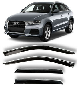 Chrome Trim Side Window Visors Guard Vent Deflectors For Audi Q3 (8U) 2011-2017