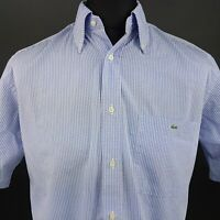Lacoste Mens Shirt 42 (LARGE) Short Sleeve Blue Regular Fit Check Cotton