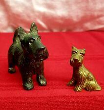 Vintage Set Miniature Scottie Dogs Metal Brass Scottish Terrier Puppies Pets