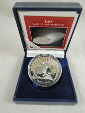 1999 LAO ANTICIPATION RABBIT 3000 KIP PROOF COLORED SILVER COIN 20g 38.7mm