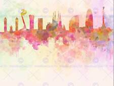 Dipinto astratto Cityscape BARCELLONA SPAGNA PAINT SPLASH SKYLINE POSTER bmp11537