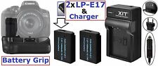 Battery Grip + 2-Pcs LP-E17 Battery & Charger For Canon Rebel T6i T6s 760D 750D